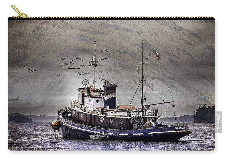Fishing Boat Carry-all Pouch featuring the mixed media Fishing Boat by Peter v Quenter