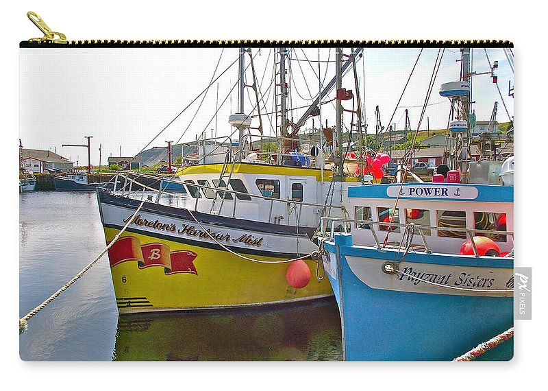 Fishing Boat Reflection In Branch Carry-all Pouch featuring the photograph Fishing Boat Reflection In Branch-newfoundland-canada by Ruth Hager