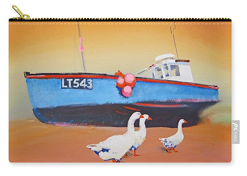 Geese Carry-all Pouch featuring the painting Fishing Boat Walberswick With Geese by Charles Stuart