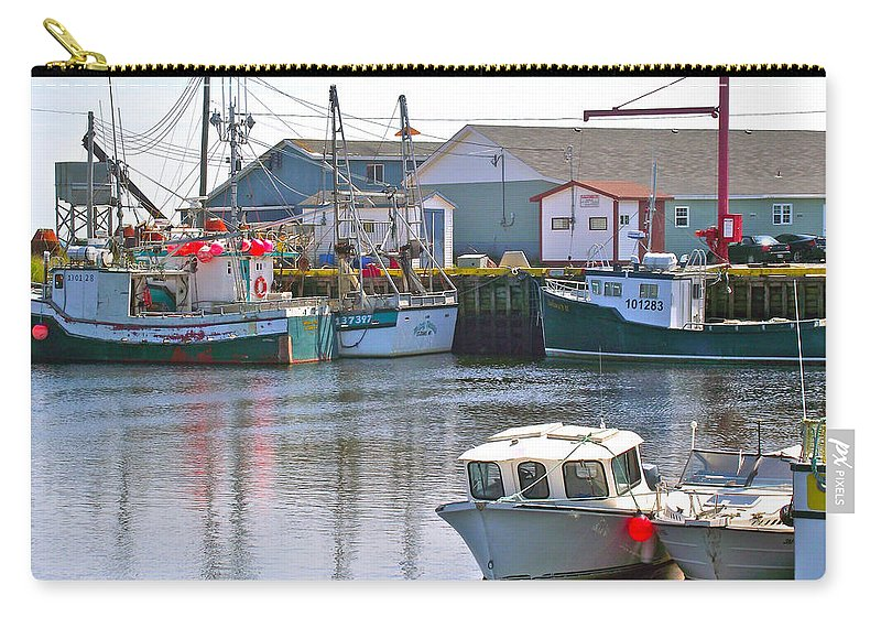 Fishing Boat Reflection In Branch Carry-all Pouch featuring the photograph Fishing Boats In Branch-nl by Ruth Hager