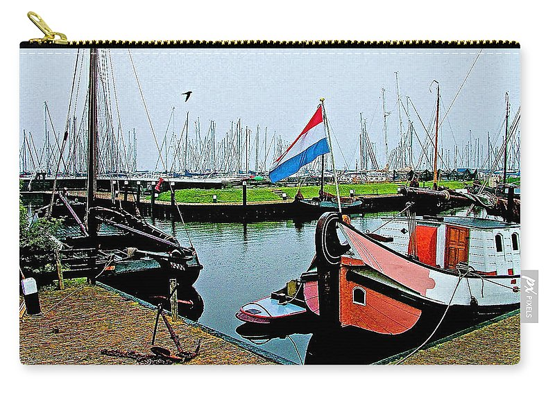 Fishing Boats In Enkhuizen Carry-all Pouch featuring the photograph Fishing Boats In Enkhuizen-netherlands by Ruth Hager