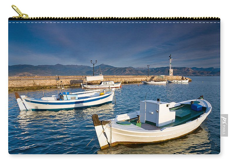 Peloponnese Carry-all Pouch featuring the photograph fishing boats 'XIII by Milan Gonda