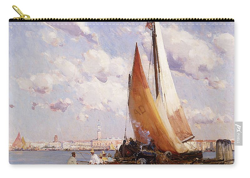 British Carry-all Pouch featuring the painting Fishing Craft With The Rivere Degli Schiavoni Venice by E Aubrey Hunt
