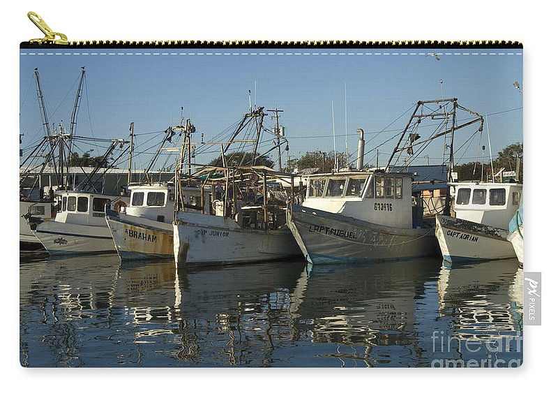 Rockport Texas Fishing Boat Boats Harbor Harbors Fleet Shrimper Shrimpers Reflection Reflections Waterscape Waterscapes Dock Docks Carry-all Pouch featuring the photograph Fishing Fleet by Bob Phillips