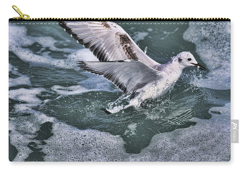 Seagull Carry-all Pouch featuring the photograph Fishing In The Foam by Deborah Benoit