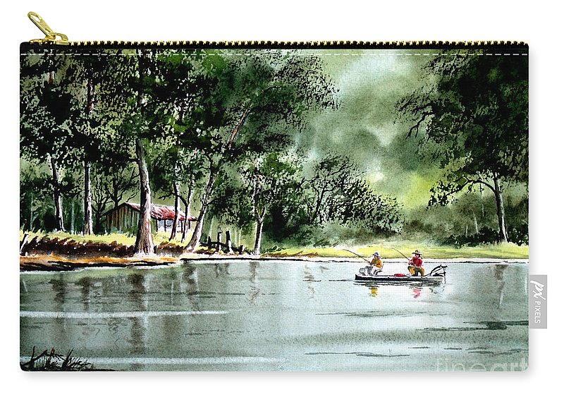 Fishing Carry-all Pouch featuring the painting Fishing On Lazy Days - Aucilla River Florida by Bill Holkham