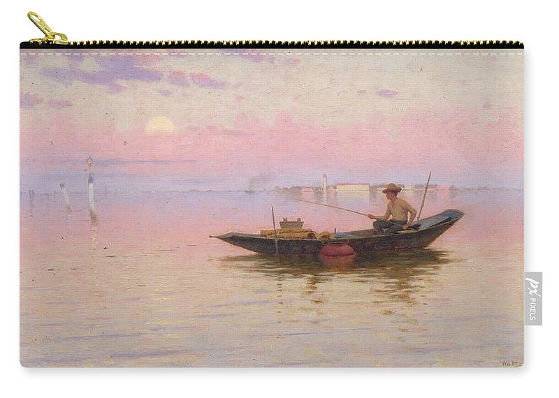 Venetian Carry-all Pouch featuring the painting Fishing On The Lagoon, Venice, C.1890 by Walter Blackman