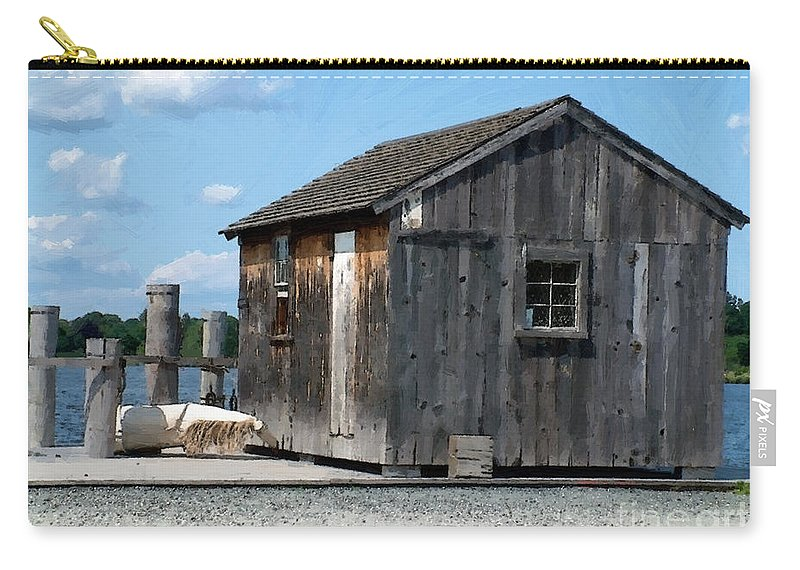 Shed Carry-all Pouch featuring the painting Fishing Shack On The Mystic River by RC DeWinter
