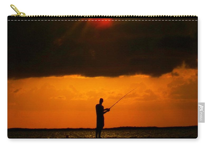 Fishing Carry-all Pouch featuring the photograph Fishing The Sun by Karen Wiles