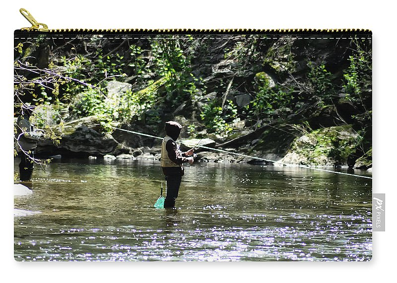 Fishing The Wissahickon Carry-all Pouch featuring the photograph Fishing The Wissahickon by Bill Cannon