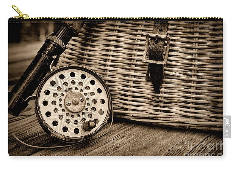 Paul Ward Carry-all Pouch featuring the photograph Fishing - Vintage Fly Fishing - Black And White by Paul Ward