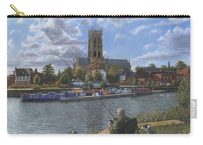 The Minster Church Of Saint George Carry-all Pouch featuring the painting Fishing With Oscar - Doncaster Minster by Richard Harpum