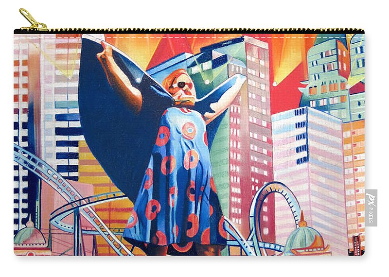 Phish Carry-all Pouch featuring the drawing Fishman In Vegas by Joshua Morton