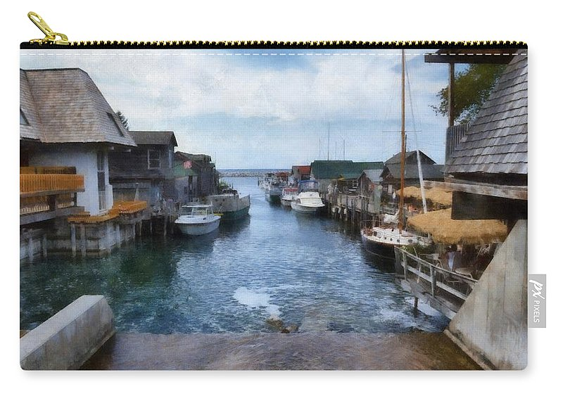 Leland Michigan Carry-all Pouch featuring the photograph Fishtown Leland Michigan by Michelle Calkins