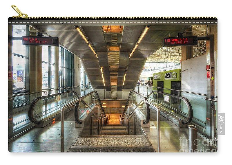 Yhun Suarez Carry-all Pouch featuring the photograph Fiumicino Airport Escalator by Yhun Suarez