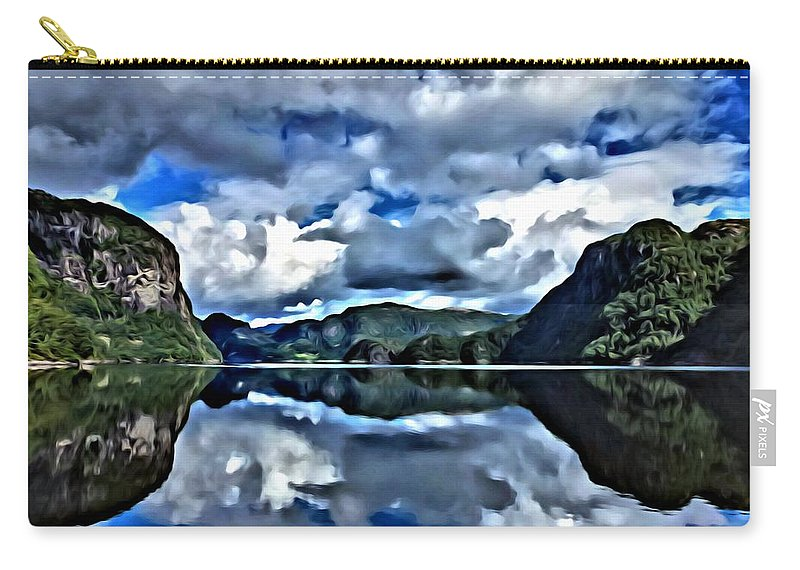 Lanscapes Carry-all Pouch featuring the painting Fjords Of Norway by Florian Rodarte