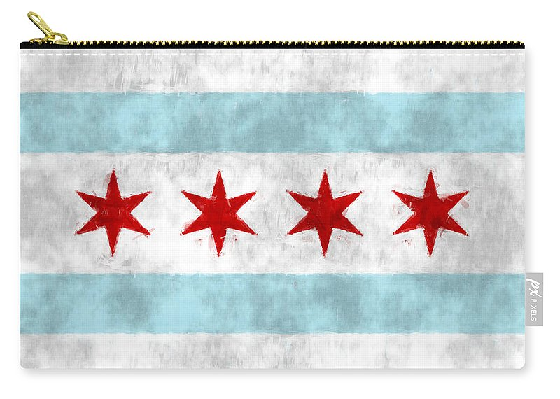 American City Flags Carry-all Pouch featuring the digital art Flag Of Chicago by World Art Prints And Designs