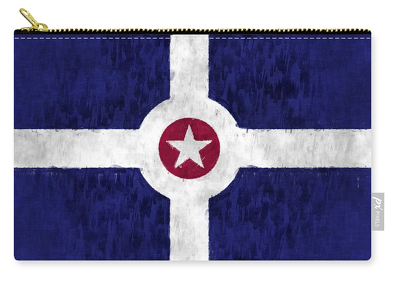 American City Flags Carry-all Pouch featuring the digital art Flag Of Indianapolis by World Art Prints And Designs