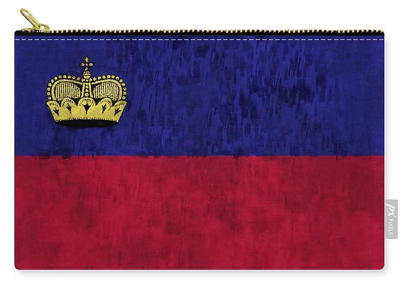 Crown Carry-all Pouch featuring the digital art Flag Of Liechtenstein by World Art Prints And Designs