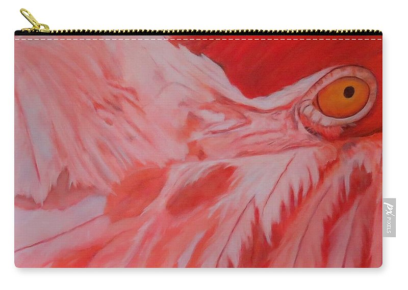 Flamingo Carry-all Pouch featuring the painting Flamboyant, Flamingo  by Sandra Reeves