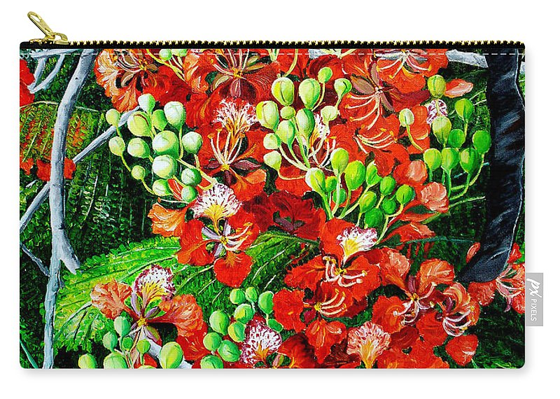 Royal Poincianna Painting Flamboyant Painting Tree Painting Botanical Tree Painting Flower Painting Floral Painting Bloom Flower Red Tree Tropical Paintinggreeting Card Painting Carry-all Pouch featuring the painting Flamboyant in Bloom by Karin Dawn Kelshall- Best