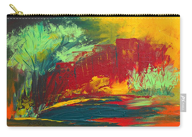 Abstract Art Carry-all Pouch featuring the painting Flame In The Night by Donna Blackhall