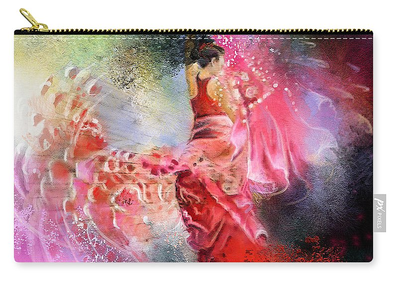 Flamenco Painting Carry-all Pouch featuring the painting Flamencoscape 13 by Miki De Goodaboom