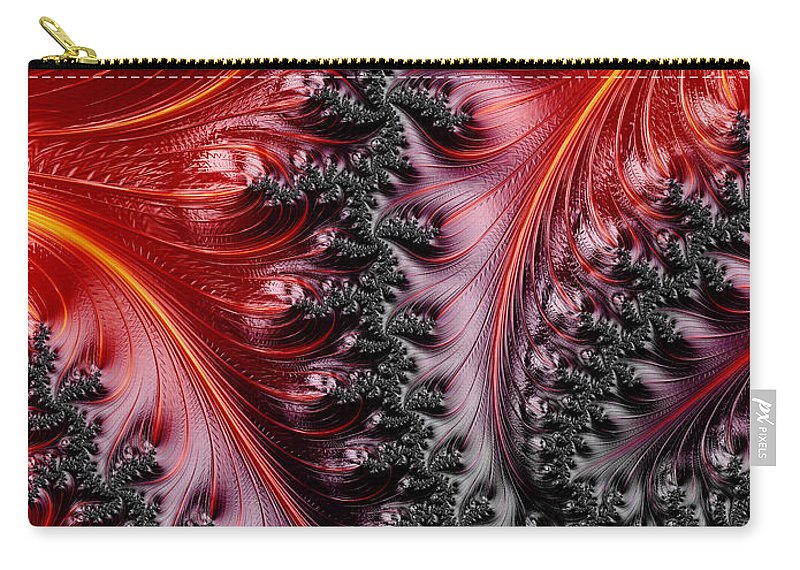 Fractal Carry-all Pouch featuring the digital art Flames - A Fractal Abstract by Ann Garrett