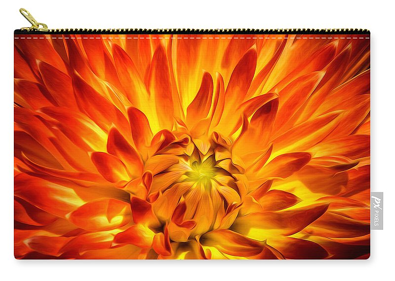 Dahlia Carry-all Pouch featuring the photograph Flaming Dahlia - Paintography by Dawn M Smith