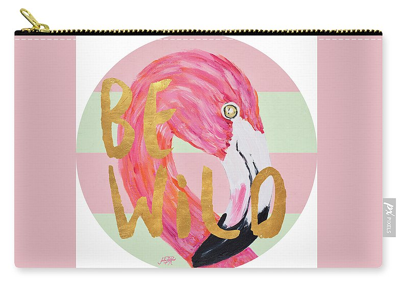 Flamingo Carry-all Pouch featuring the painting Flamingo On Stripes Round by South Social D