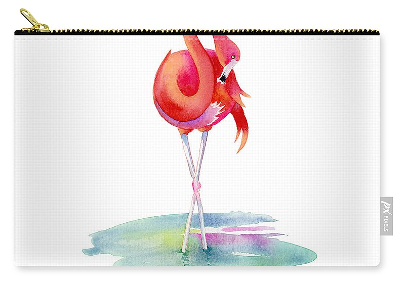 Flamingo Carry-all Pouch featuring the painting Flamingo Primp by Amy Kirkpatrick