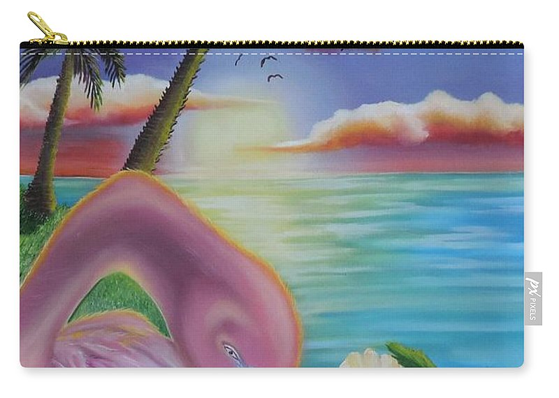 Florida Carry-all Pouch featuring the painting Flamingo Sunset by Dianna Lewis