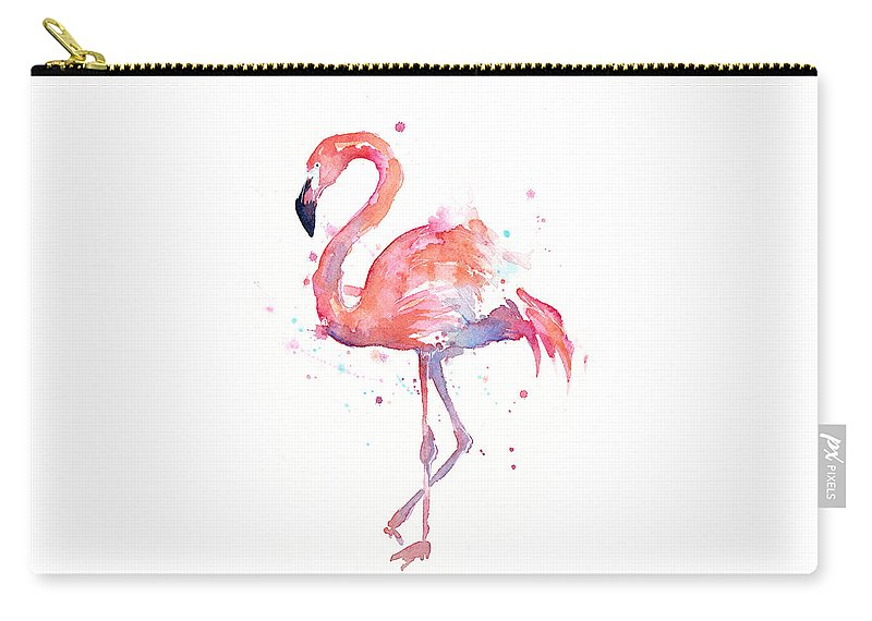 Bird Carry-all Pouch featuring the painting Flamingo Watercolor by Olga Shvartsur
