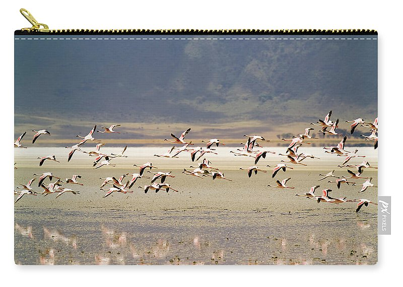 Action Carry-all Pouch featuring the photograph Flamingos Flying Over Water by Jonathan Kingston