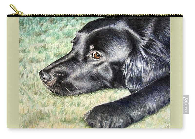 Dog Carry-all Pouch featuring the painting Flat Coated Retriever by Nicole Zeug