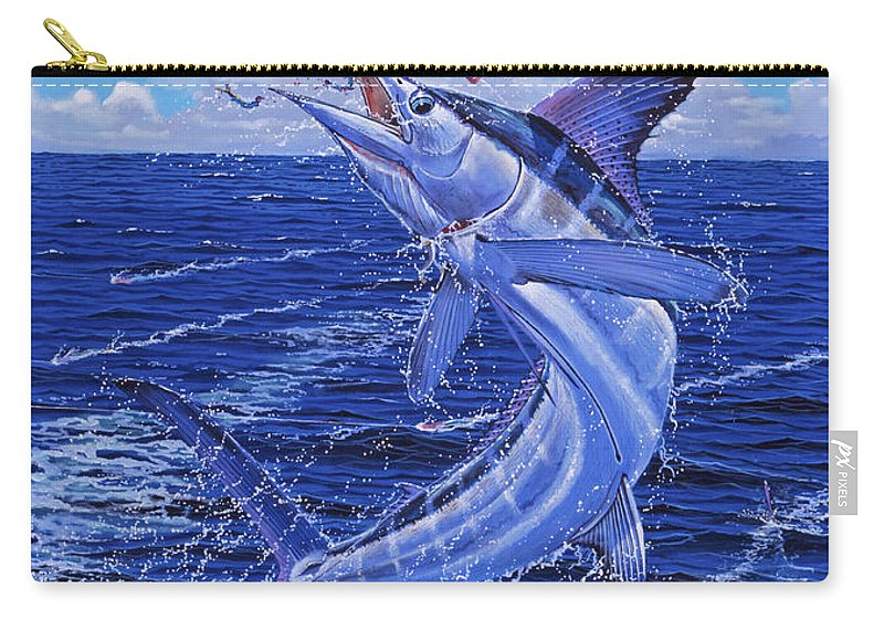 White Marlin Carry-all Pouch featuring the painting Flat Line Off0077 by Carey Chen