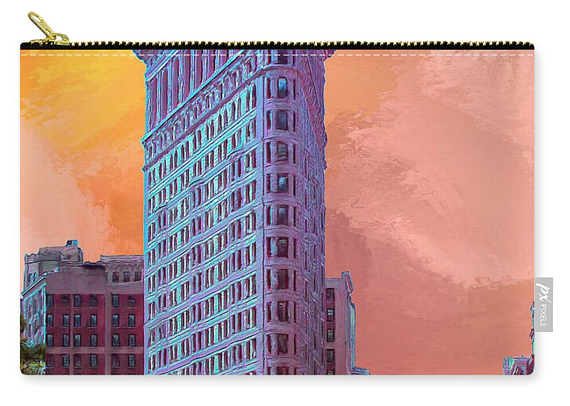Flatiron Building Carry-all Pouch featuring the painting Flatiron Building At Sunset by Dominic Piperata