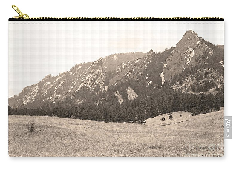 Flatirons Carry-all Pouch featuring the photograph Flatirons Boulder Colorado Winter View Sepia by James BO Insogna