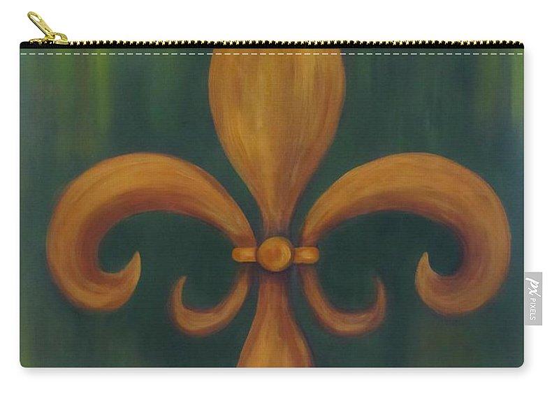 Fleur De Lis Carry-all Pouch featuring the painting Fleur-de-lis by Sandra Reeves