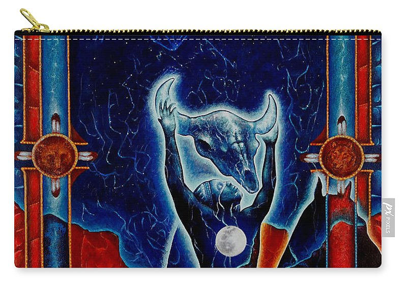 Native American Carry-all Pouch featuring the painting Flies Through The Sky by Kevin Chasing Wolf Hutchins