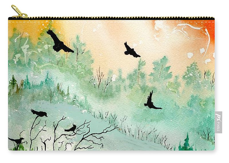 Watercolor Carry-all Pouch featuring the painting Flight by Brenda Owen