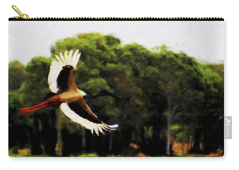 Black Necked Stork Carry-all Pouch featuring the photograph Flight Of The Jabiru V2 by Douglas Barnard