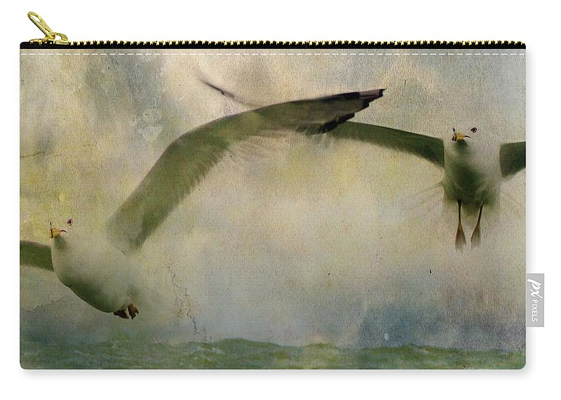 Sky Carry-all Pouch featuring the photograph Flight Of The Seagulls by Gothicrow Images