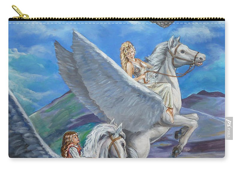 Pegasus Carry-all Pouch featuring the painting Flights Of Fancy by Bryan Bustard