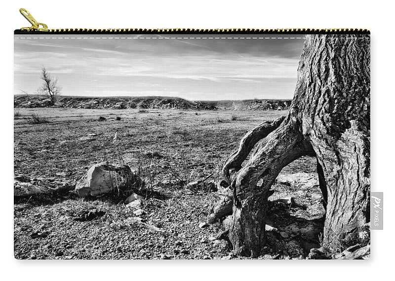 Black And White Carry-all Pouch featuring the photograph Flint Hills Moonscape by Eric Benjamin