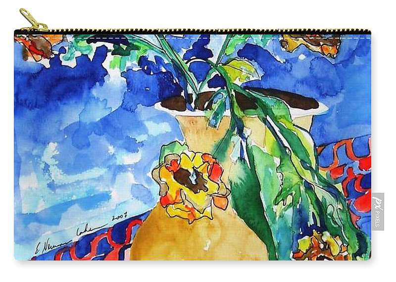 Flip Of Flowers Carry-all Pouch featuring the painting Flip Of Flowers by Esther Newman-Cohen