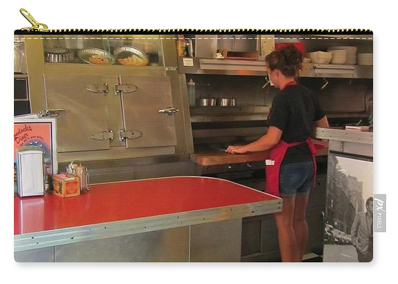 Diner Interior Photographs Carry-all Pouch featuring the photograph Flippin Burgers In The Diner by John Malone