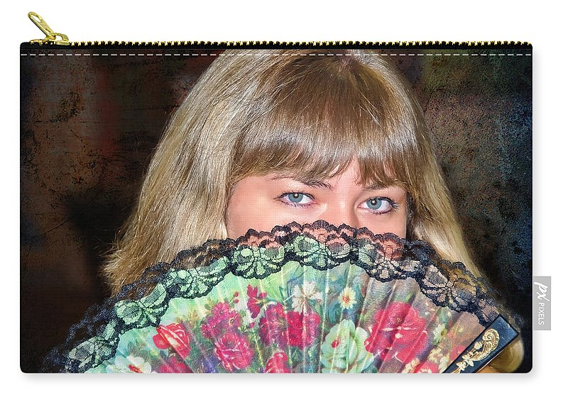 Flirty Carry-all Pouch featuring the photograph Flirting With The Fan by Mariola Bitner