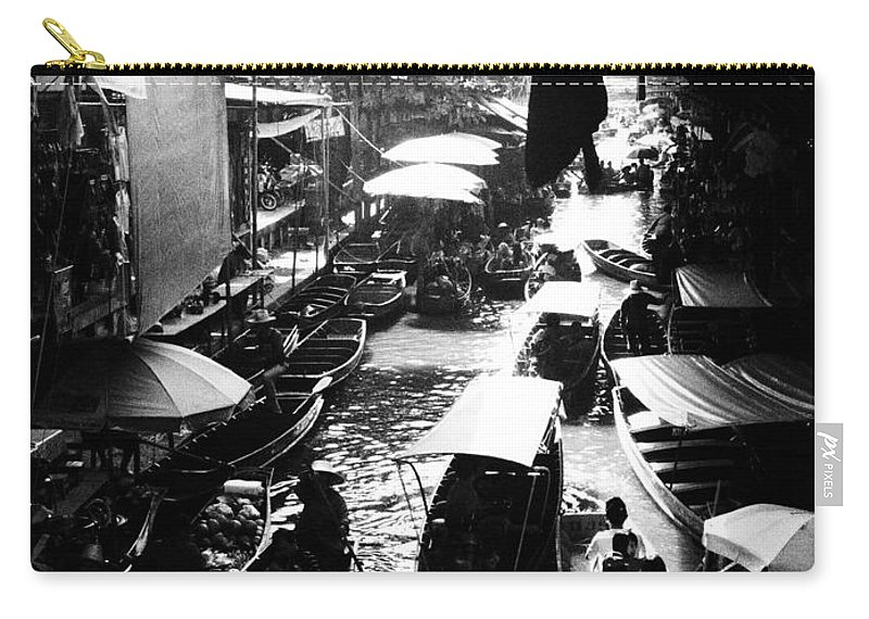 Floating Carry-all Pouch featuring the photograph Floating Markets In Black And White by Kaleidoscopik Photography