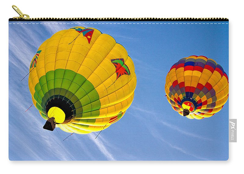 Hot Air Balloon Carry-all Pouch featuring the photograph Floating Upward Hot Air Balloons by Bob Orsillo